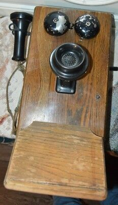 Antique/Vintage Oak Wood Hand Crank Wall Telephone, WHOLE, REALLY CLEAN INSIDE