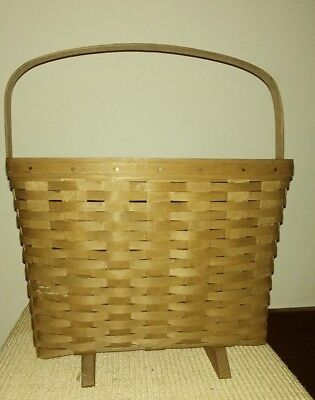 Longaberger 1983 Basket with Feet Signed in Mint Condition Swing Handle