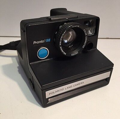 Vintage Polaroid Pronto SE SX-70 Instant Black Land Camera with Strap