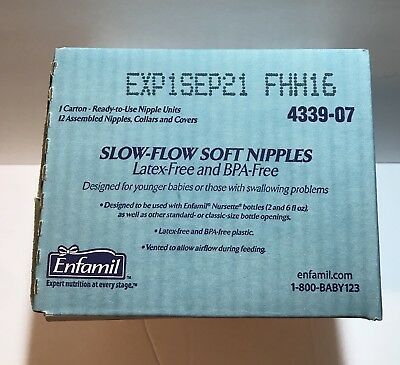 Enfamil Slow Flow Soft Nipples 12 Nipples Collars Covers Exp 09/2021