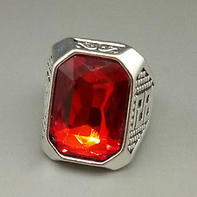 Chinese Exquisite Tibetan silver Inlaid ruby Fashion Ring z224