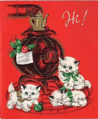 Playful Kitty Cat Kitten Trio Stove Sleepy Ornament VTG Christmas Greeting Card