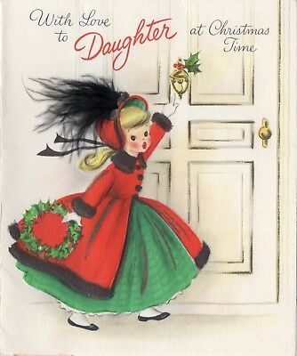 Hallmark Pretty Girl Lady Woman Feather Hat Door VTG Christmas Greeting Card