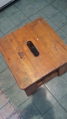 CLASSIC RARE 30's BELL SYSTEM WORKER'S WOODEN STAND-ON BENCH