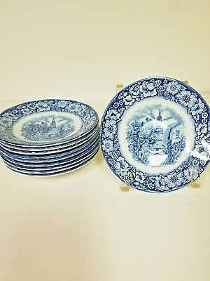 2 Saucers - Staffordshire Ironstone Liberty Blue, Historic Colonial Scenes
