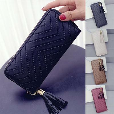 Womens Faux Leather Tassel Zipper Long Wallet For Lady Causal Card/Phone Holder