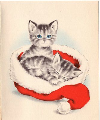 Santa Claus Kitty Cat Kitten Cuddle Sleepy Bedtime VTG Christmas Greeting Card