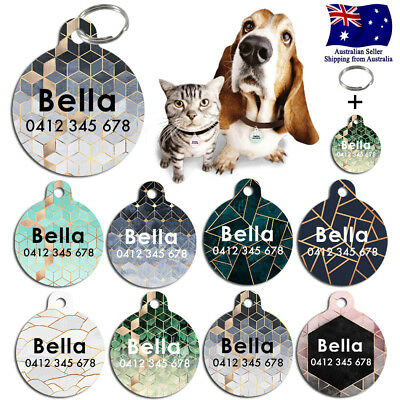 Metal Personalized Pet cat dog Tag Custom Stripes Key ring Name Tags Marble II