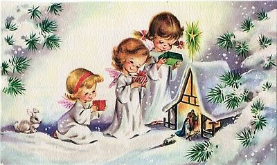 FRONT ONLY 3 Wisemen Angel Girl Nativity Glitter MCM VTG Christmas Greeting Card