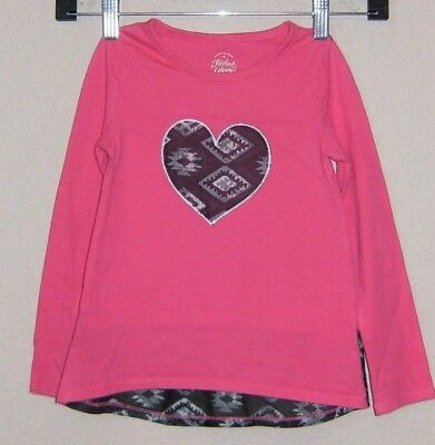 Faded Glory Long Sleeve Shirt Girls Size 4 Pink with Heart on Front