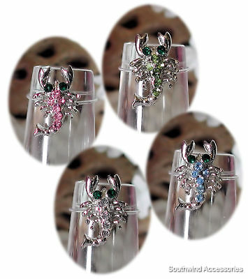 Scorpion Toe Ring On Stretch Illusion Band Your Choice In Color Of Crystals