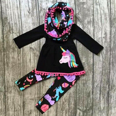 USA Unicorn Kids Baby Girls Outfits Clothes T-shirt Tops Dress +Floral Leggings