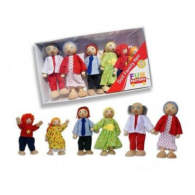 Wooden Toy Pack of 6 Dressed 'Dolls Family' with Mum, Dad & Kids