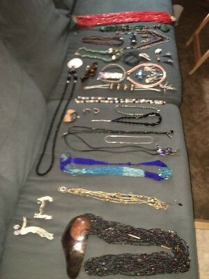 Vintage Lot of 100+ Costume Jewelry Necklaces, Beads, Pins, Earrings, Hair clips