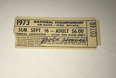 1973 Reno Air Races Ticket Stub Signed By Bob Hoover