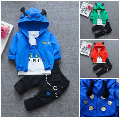 3pcs baby boys tracksuit coat+ T shirt +pants Kids boy clothes outfits & set
