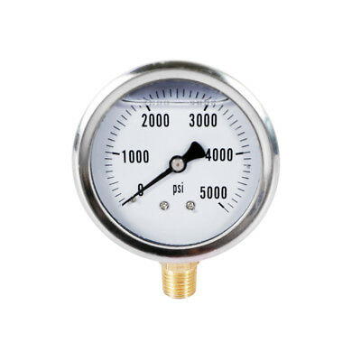Hydraulic Liquid Filled Pressure Gauge 0-5000 PSI 1/4 NPT For Measuring