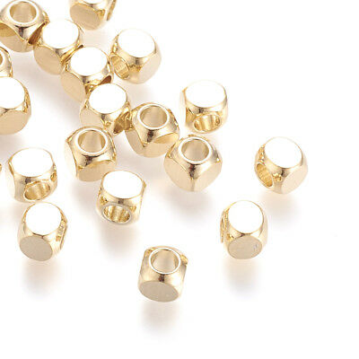 50pcs Gold Plated Brass Cube Metal Beads Smooth Loose Spacers Tiny Beading 5x5mm