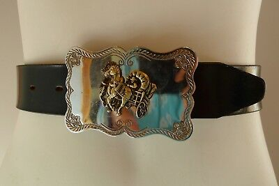 Vintage retro 60s unused black leather cowboy belt horses wagon