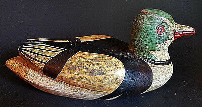 Vintage Wood duck, hand carved, painted not signed spain