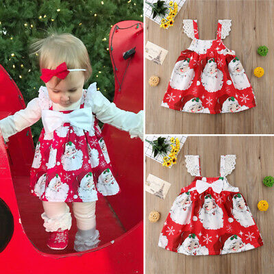 Cute Toddler Kids Baby Girl Xmas Lace Bow Party Dress Sleeveless Dress Clothes