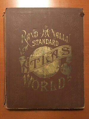 Rand McNally New Standard Atlas Of The World Antique 1890 11X14 Color Maps