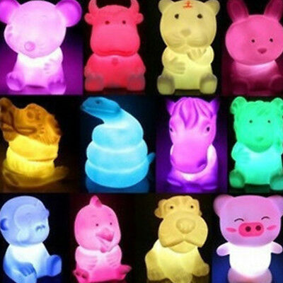 Cute Animal Shaped LED 7 Color Changing Night Light Lamp Room Decor Kids Gift SM