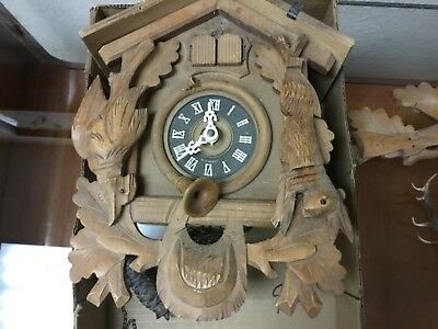 VINTAGE Old wood cuckoo clock pheasant rabbit parts might work or for parts