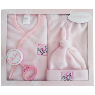 Baby Girl's Newborn Bambini 4 Piece Fleece Set - Pink  - Made in USA