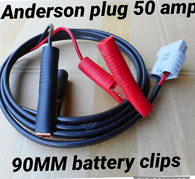 50 Amp Anderson style Plug Connector Auto 10 m Cable 6mm to battery 90mm clips