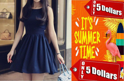Single Breasted Casual Scoop Neck Backless Self-Tie Women's Sundress - Deep Blue
