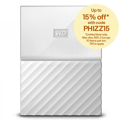 WD My Passport Portable Hard Drive HDD 1TB 2TB - White / Red