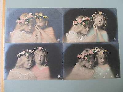 4 Antique real photo hand coloured postcards of pretty young girls