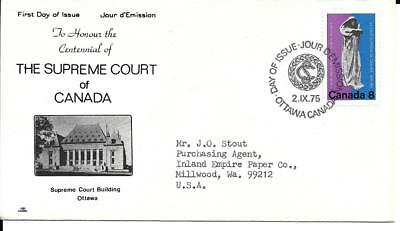 Supreme Court of Canada Centennial, FDC# 669, year 1975, cachet