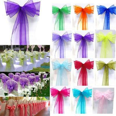 1-100x Large Size Organza Chair Cover Sashes Full Bow Wedding Party Garden Decor