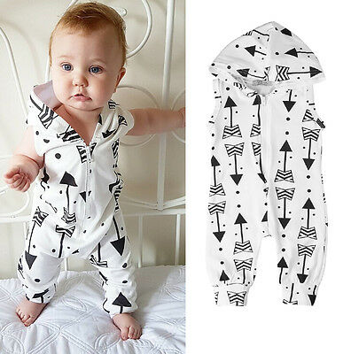 Newborn Baby Boys Girls Hooded Romper Vest Jumpsuit Bodysuit Clothes Outfit Sets