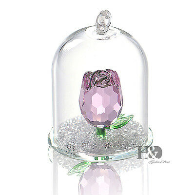 Crystal Pink Rose Figurine Hanging Decor Pendant Xmas Wedding Gift Ornaments
