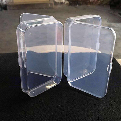 2Pcs Clear Plastic Transparent With Lid Storage Box Collection Container Case VQ