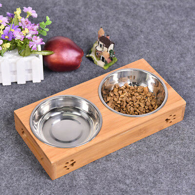 Raised Pet bowls for Cats and Dogs,Double Bamboo Stand Food Water Feeder