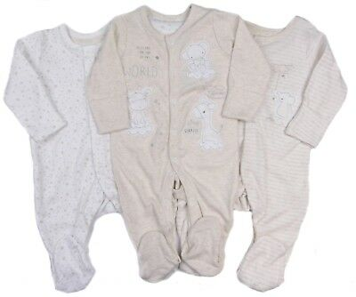 Pack Of Three Sleepsuits New Baby Unisex Ex Mothercare RRP £16.00