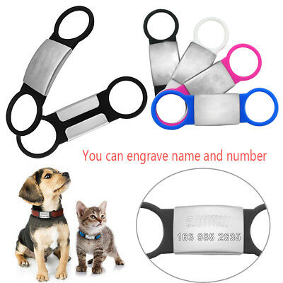 Fashion Dog Cat ID Tags Pet Nameplate Tags Customized Engraved Tensile Rubber DE