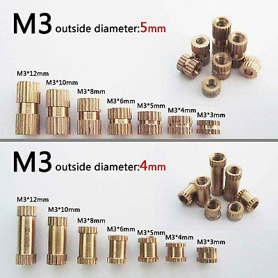 25/100X M3 Brass Copper Metric Threaded Round Knurl Insert Embedded Nut OD 4/5mm
