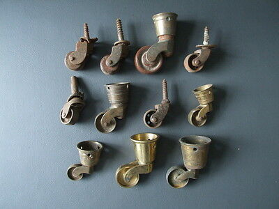Job lot of antique & vintage brass & metal castors - furniture restoration parts