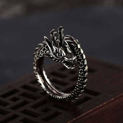 1pc Fashion Adjustable Silver Plated Dragon Ring Men Women Jewelry Opening Rings