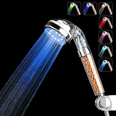 LED Shower Head Prevent Hair Loss Ionic Showerhead Double Filter 7Color Changing