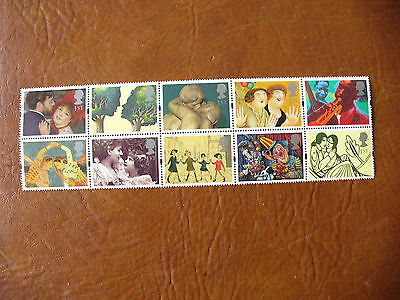 QE strip GB stamps 1995 Booklet Pane Greetings Issued 21-3-95 G4 (Cat 2013 £14)