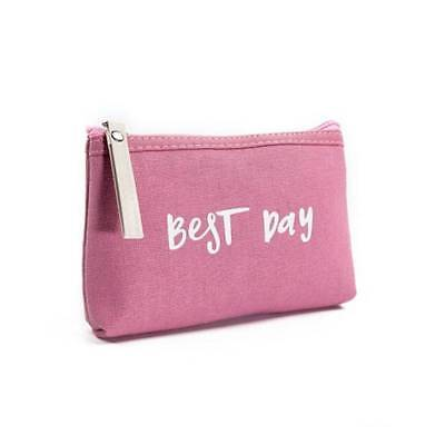 Women Letter Design Cosmetic Bags Canvas Makeup Bag Zipper Travel Make Up Pouch