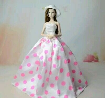 New Barbie doll clothes outfit  princess wedding gown dress pink polka dot