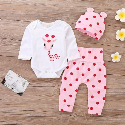 3Pcs Newborn Baby Girl Giraffe Romper Tops +Long Pants Hat Outfits Clothes 0-24M
