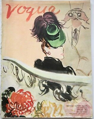 1938 vintage VOGUE PARIS haute couture Schiaparelli hats furs 30s fashion French